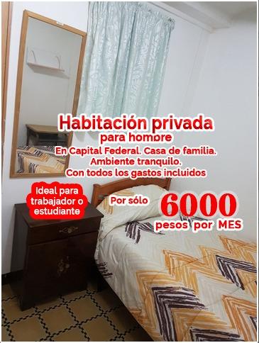habitacion privada cap fed $6000 p/mes todo incl exc ubi