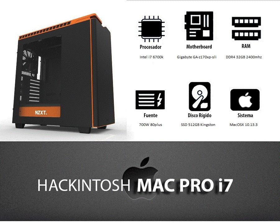 Hackintosh Mac Pro Clon Intel I7 Ssd 512gb 32gb Ddr4 - $ 69 999,00