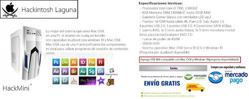 hackintosh pc, mac os sierra-windows10, core i3 7100,8gb ram