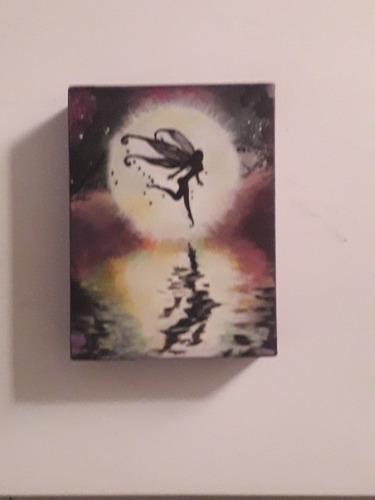 hada  cuadro técnica oleo sobre lienzo 15×20 cm.