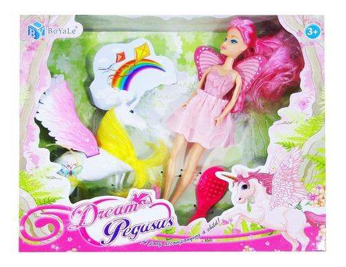 hada muñeca + unicornio con accesoriosjuguete juego niña