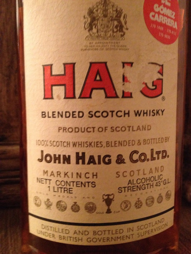 haig blended scotch whisky -bot.1980's - rotulo antigo-raro