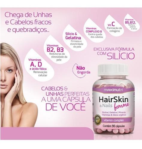 hair skin & nails femme maxinutri cápsula da beleza 90 cáps