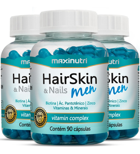 hair skin & nails men kit com 270 cápsulas - maxinutri