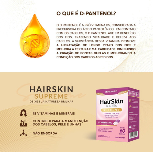 hair skin & nails supreme d-pantenol 5000mcg 60 cápsulas