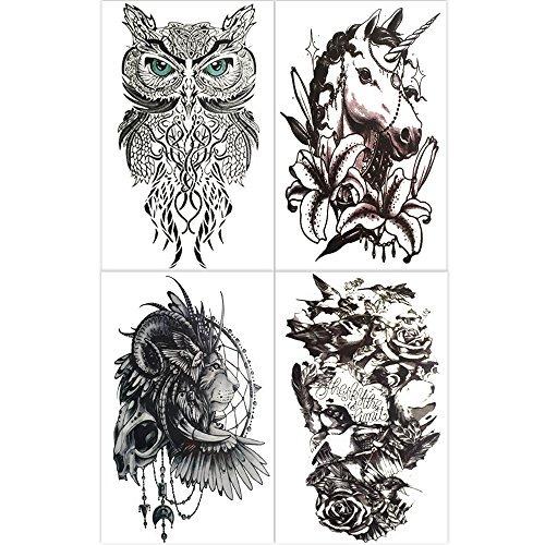 Hakuna 4 Hojas Tatuajes Temporales Hombres León Unicornio Bú