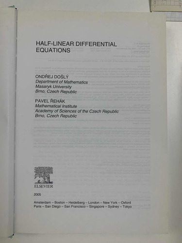 half linear differential equations dosly rehak