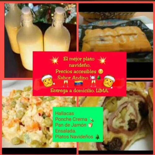 hallacas, pan de jamón , ponche cremas , platos navideños