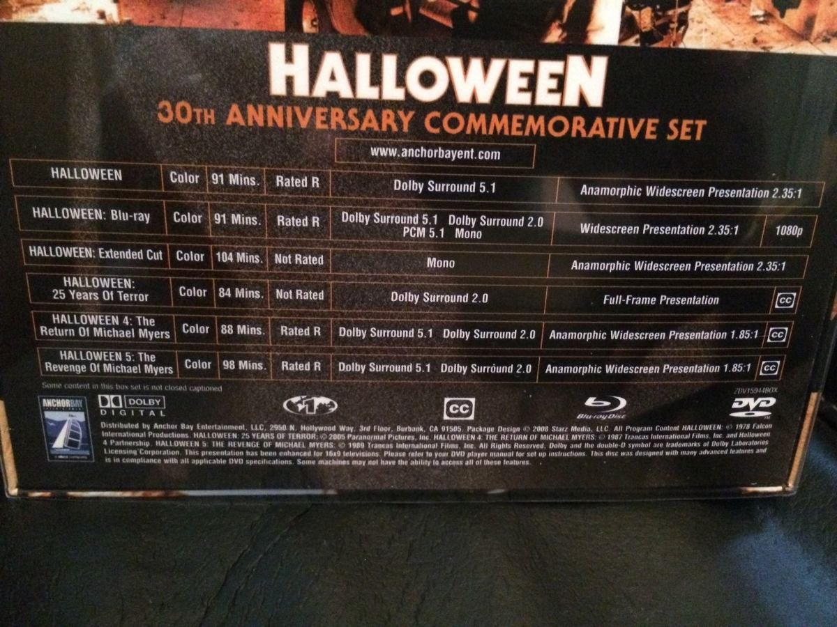 halloween , boxset del 30 aniversario con busto 6 discos dvd