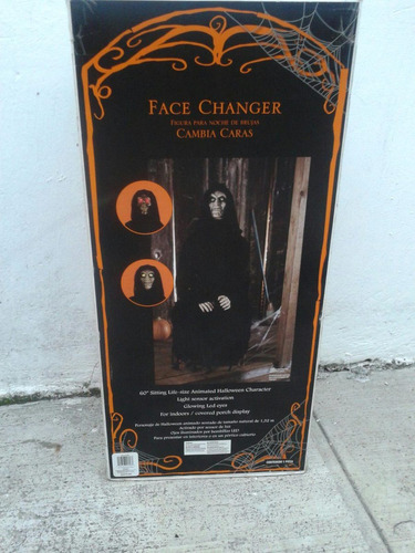halloween calaca craneo muerte cabeza giratoria enciende ojo