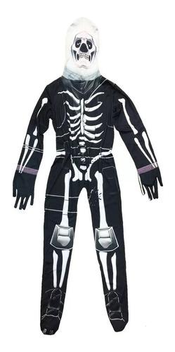 halloween, disfraz de esqueleto con máscara !