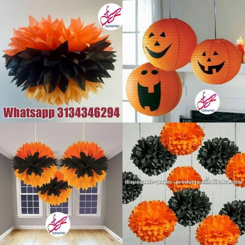 halloween globos pompones decoración fiestas bombas arañas