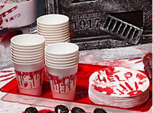 halloween platos sangre decoración zombie adornos muertos