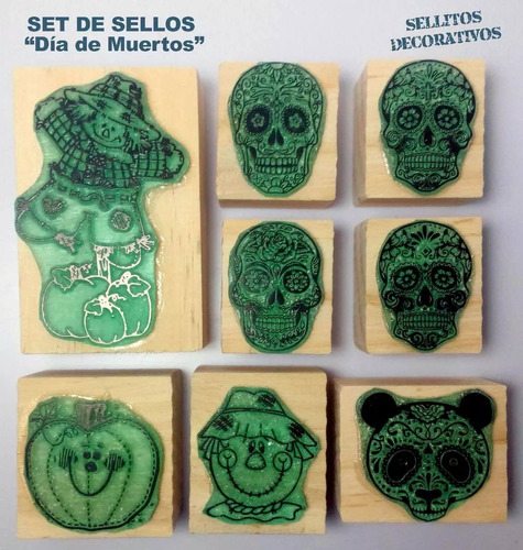 halloween y día de muertos sellos decoración scrapbook