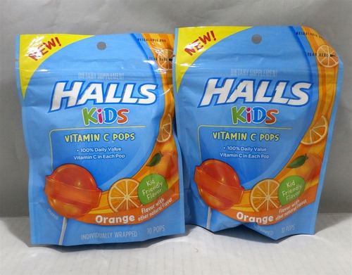 halls kids pops vitamina c naranja chupeta 2 paquetes x 10