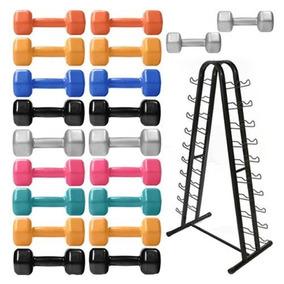 4cc842e31 Kit Halteres Revestido 1 A 10 Kg + Suporte Para Halteres - Fitness e  Musculação no Mercado Livre Brasil