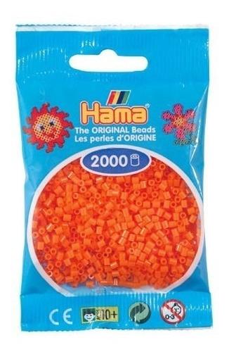 hama beads mini perler 2000 unidades color naranja pixel art