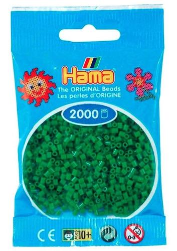hama beads mini perler 2000 unidades color verde pixel art