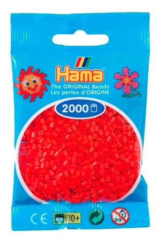 hama beads mini perler 2000 unidades de color rojo pixel art