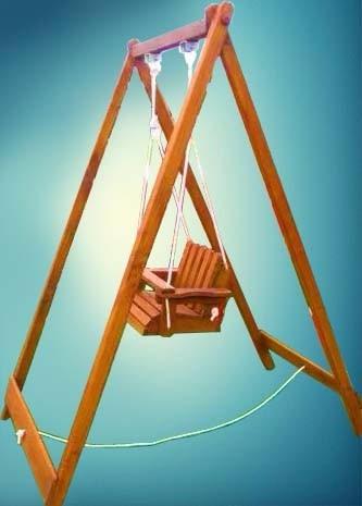 hamaca de  bebe con armazon pino macizo y cuerda náutica