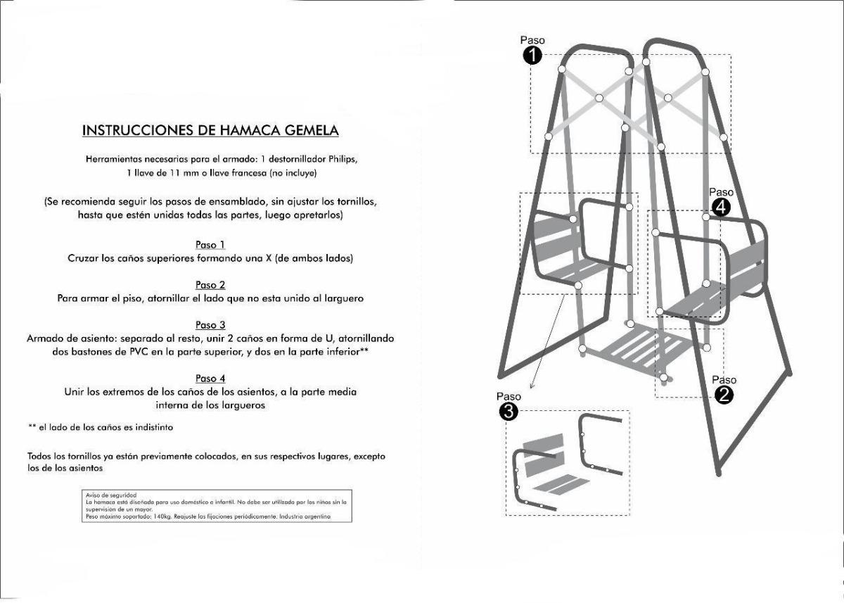 Hamaca De Caño Reforzada Juego Niños Jardin Envio Premium - $ 3.999 ...