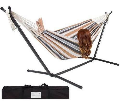 hamaca doble algodon con base cama dormir descansar jardin