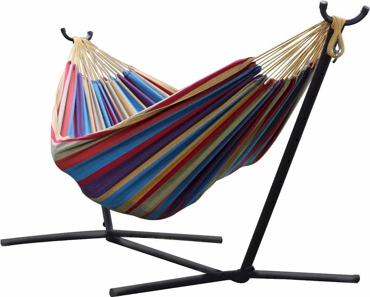 Hamaca doble algodon con base cama dormir descansar jardin for Cama exterior para jardin