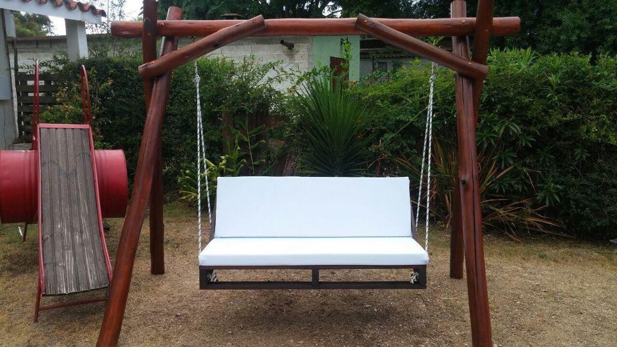 Hamaca r stica hecha de pallets con soporte y almohadones - Hamacas para jardin ...