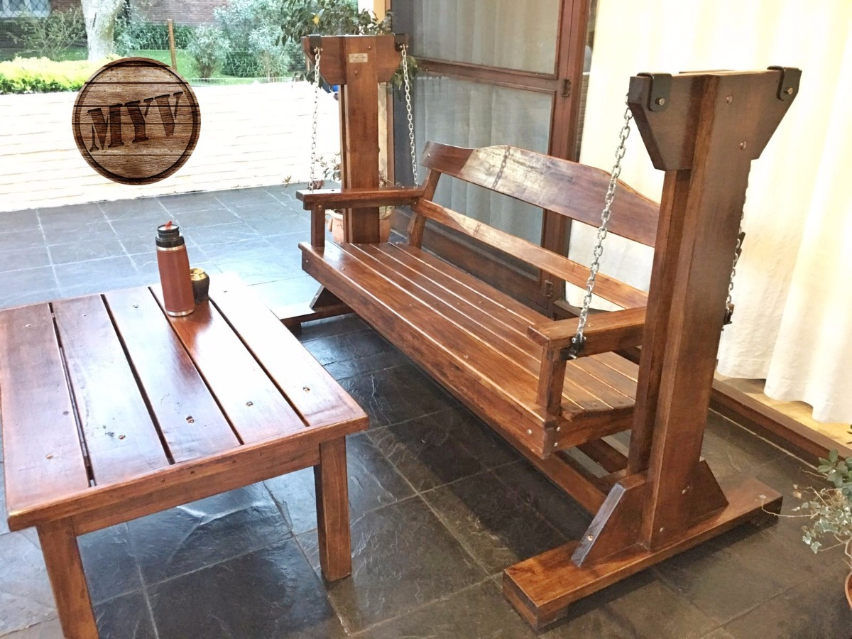 Hamaca sill n de jard n en madera maciza en for Aberturas algarrobo rosario