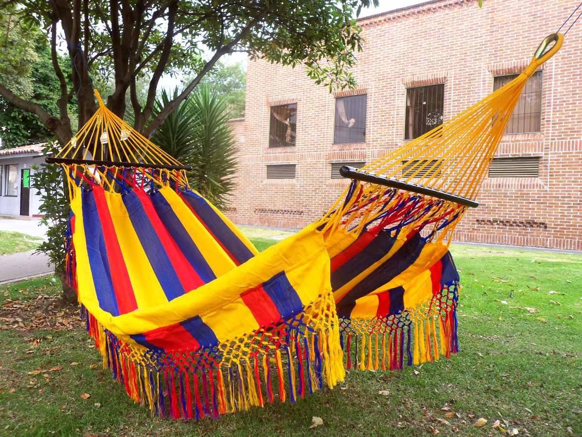 Hamaca tricolor flecos y palos casa finca hogar exterior - Hamaca exterior ...