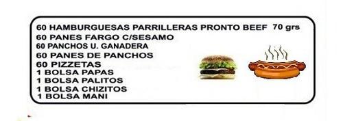 hamburguesas, panchos y pizzetas para tu cumpleaños!!
