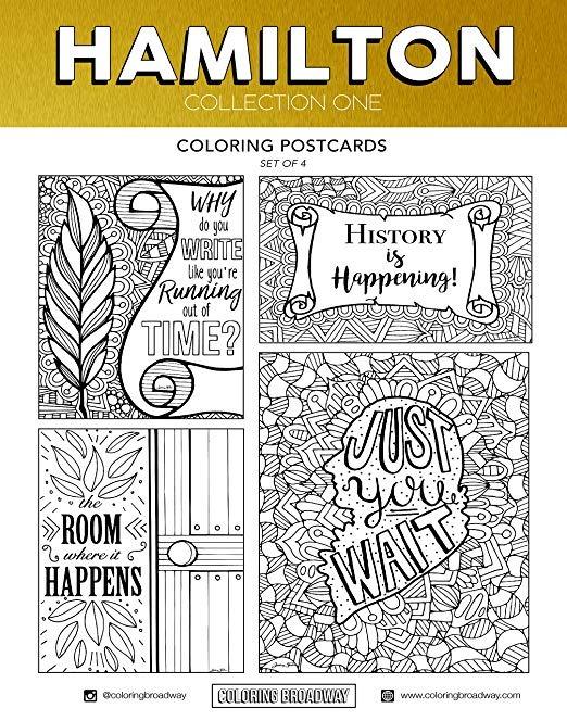 Hamilton Colorear Set - 2 Pack (4 Postales, 4 Páginas - 8 En ...