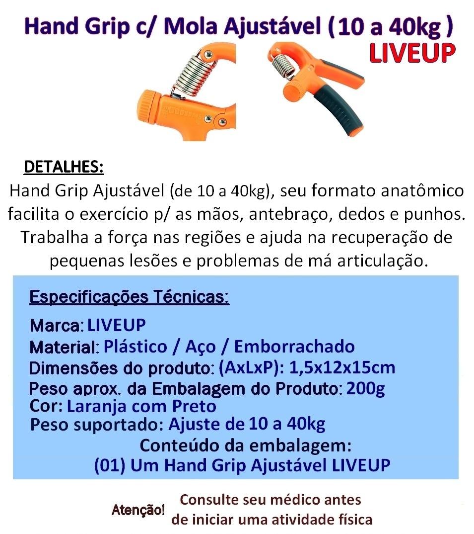ccc83710a Hand Grip Com Mola Ajustável (10 A 40 Kg) Liveup Mãos Punho - R  39 ...