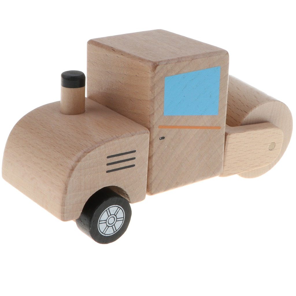 Handmade Wooden Toy Truck Natural Wood Car Model Road Roller