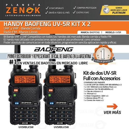 handy baofeng kit x 2 uv5r 5w uhf vhf bibanda manos libres