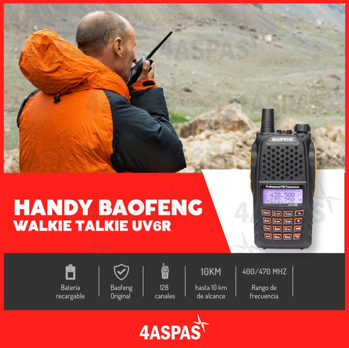 handy baofeng uv-6r alcance 50km doble banda dual uhf vhf