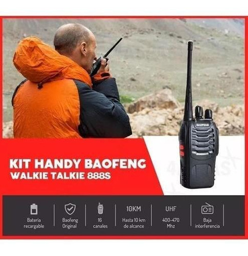 handy baofeng walkie talkie bf-888s manos libres 10km 3w