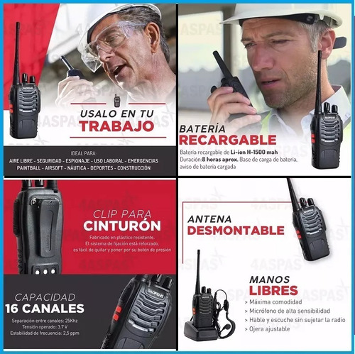 handy baofeng walkie talkie bf-888s manos libres 3w 10km