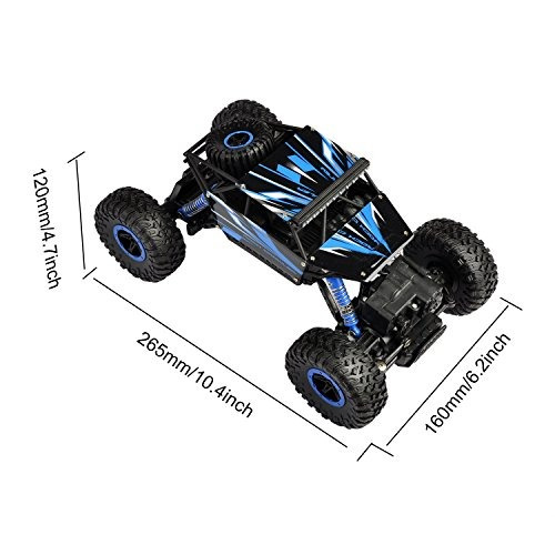 hapinic b01lz7z1rq rc dos baterías 4wd 2.4ghz 1/18 crawlers