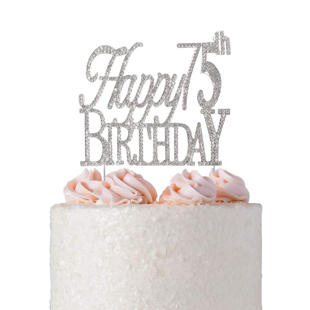 Happy 75th Birthday Rhinestone Cake Topper