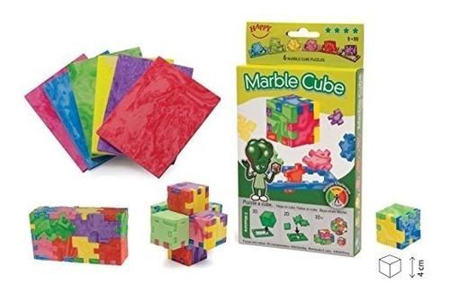 happy, marble cube, set de 6 cubos de espuma de rompecabezas