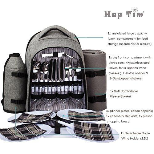 haptim - mochila de picnic impermeable para 4 personas con