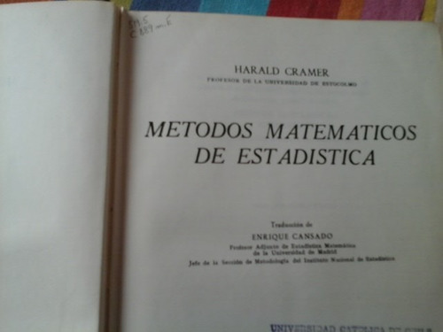 harald cramer metodos matematicos de estadistica.