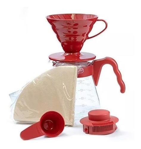 hario kit completo cono de goteo v60 02 rojo + filtros