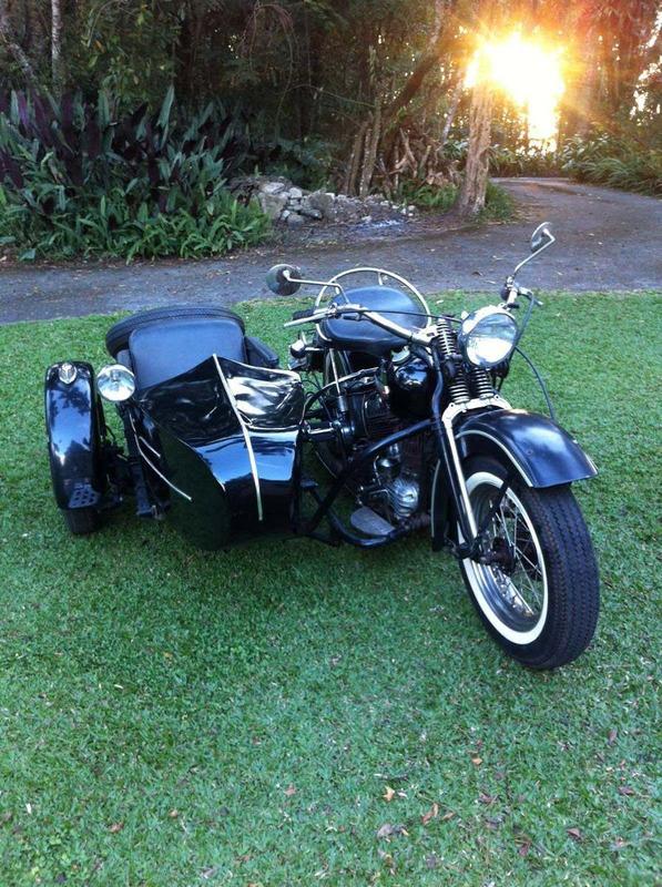 harley davidson 1200cc flathead 1947 c/ side car