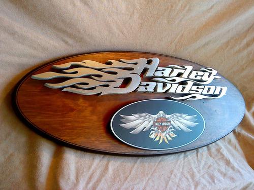 harley davidson moto cartel en relieve!! letras corporeas