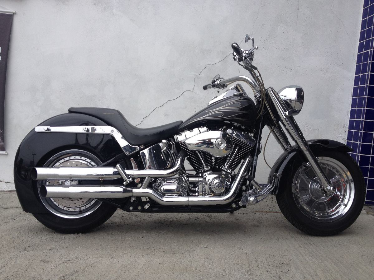 Harley-davidson Softail Fat Boy Customizada 2004 - Preta ...