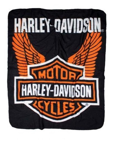harleydavidson manta alas de vellon 50 x 60 negro y naranja