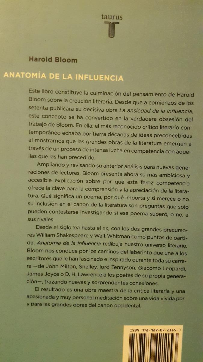 Harold Bloom - Anatomía De La Influencia - $ 350,00 en Mercado Libre