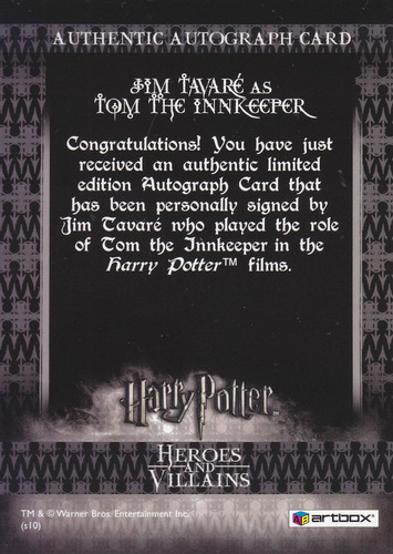 harry potter autografo jim tavare tom the innkeeper